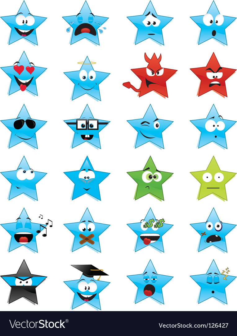 Smiley stars vector | Price: 1 Credit (USD $1)