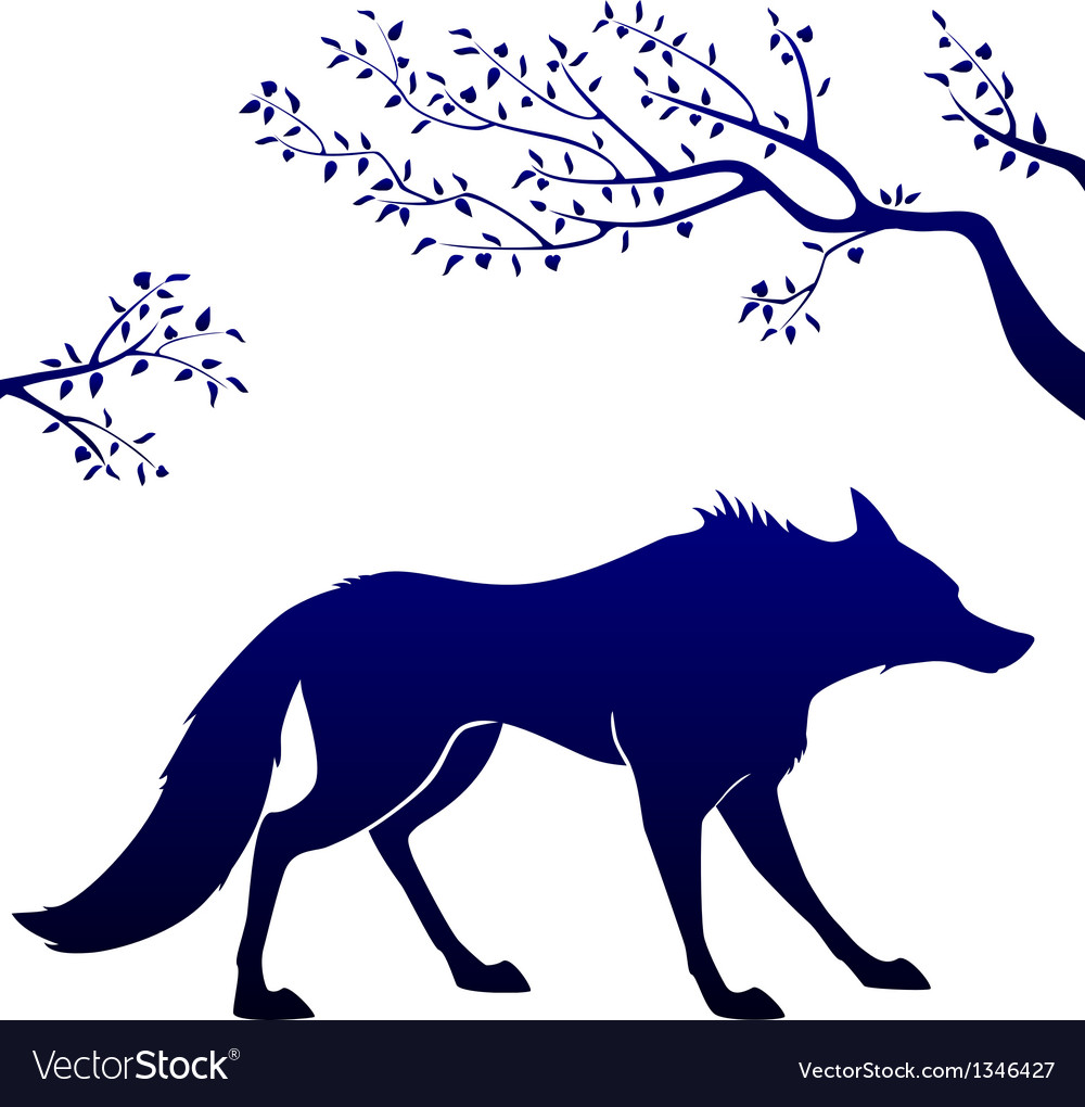 Wolf outline vector | Price: 1 Credit (USD $1)