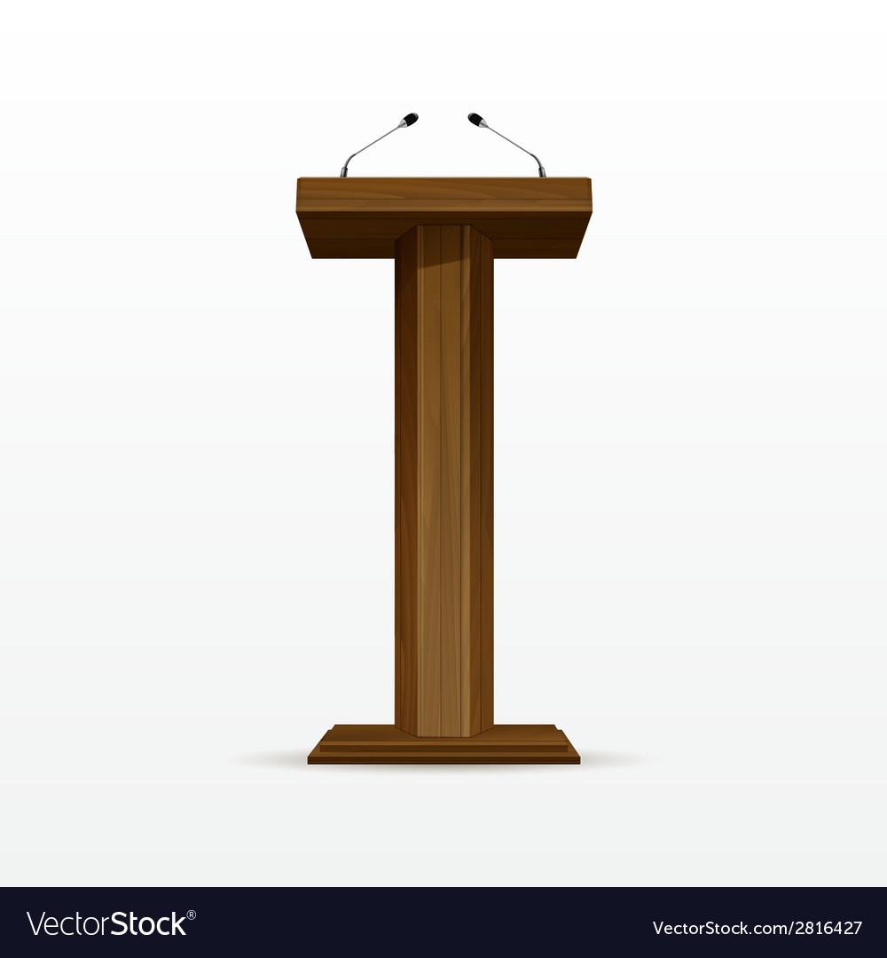 Wood podium tribune rostrum stand with microphones vector | Price: 1 Credit (USD $1)
