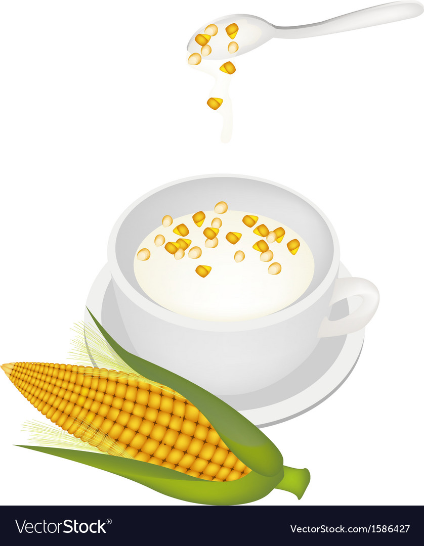 Yellow corn sweet dessert with coconut milk vector | Price: 1 Credit (USD $1)