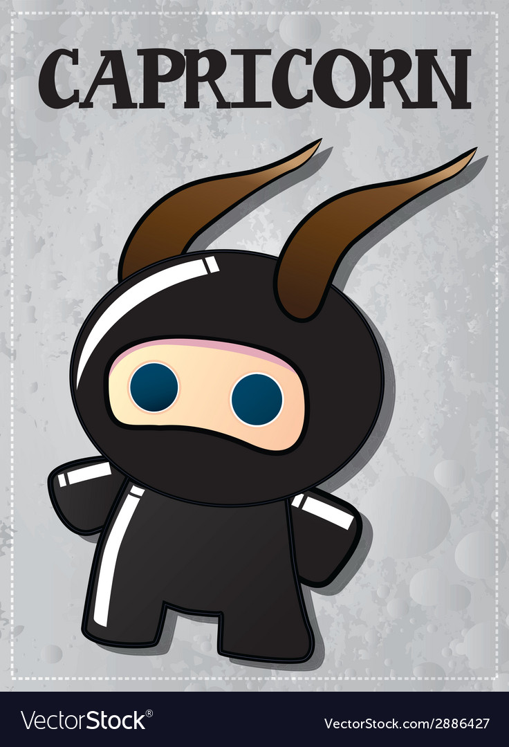 Zodiac sign capricorn with cute black ninja vector | Price: 1 Credit (USD $1)