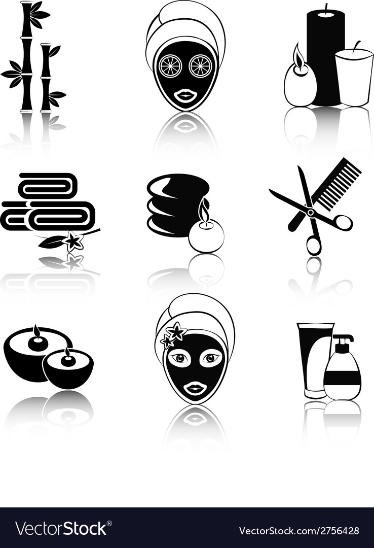 Black and white spa icons set vector | Price: 1 Credit (USD $1)
