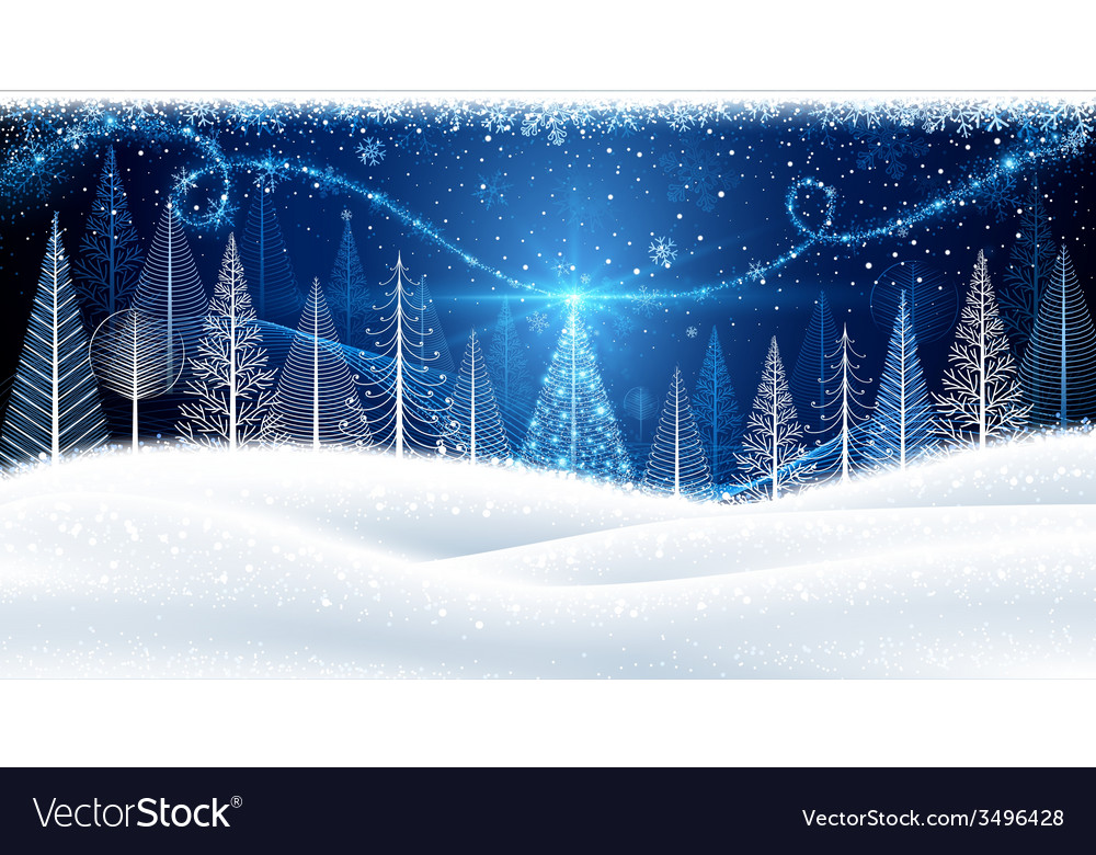 Christmas background with magic tree vector | Price: 1 Credit (USD $1)