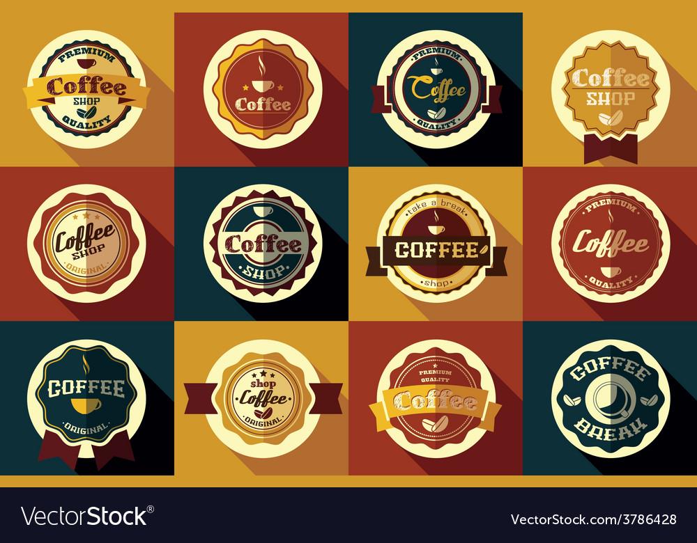 Collection of vintage retro coffee stickers vector | Price: 1 Credit (USD $1)