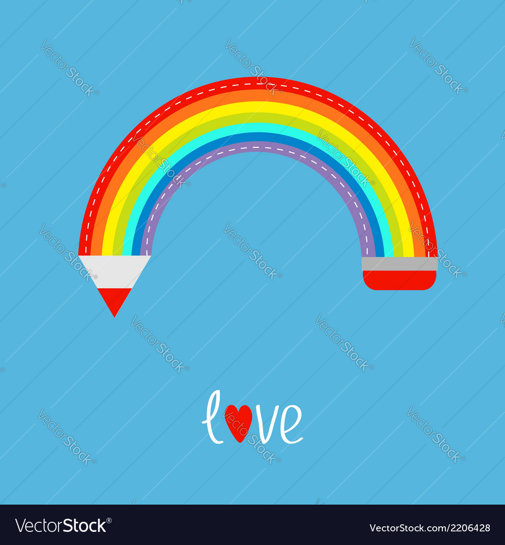 Colored pencil in shape of rainbow in the sky love vector | Price: 1 Credit (USD $1)