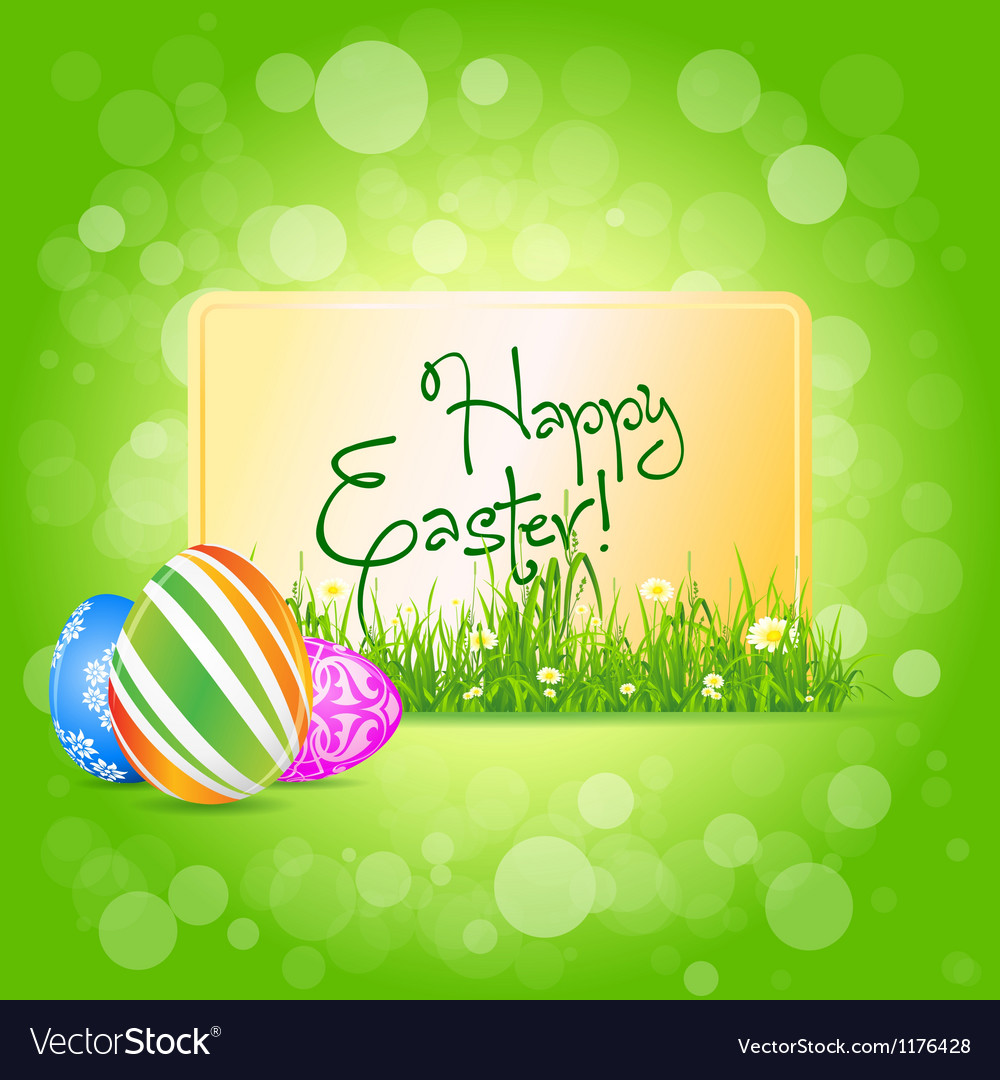 Easter card with grass and decorated eggs vector | Price: 1 Credit (USD $1)
