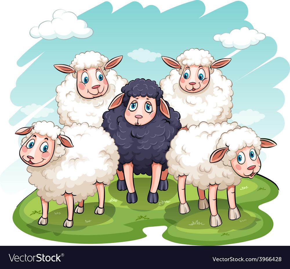 Five sheeps vector   Price: 1 Credit (USD $1)