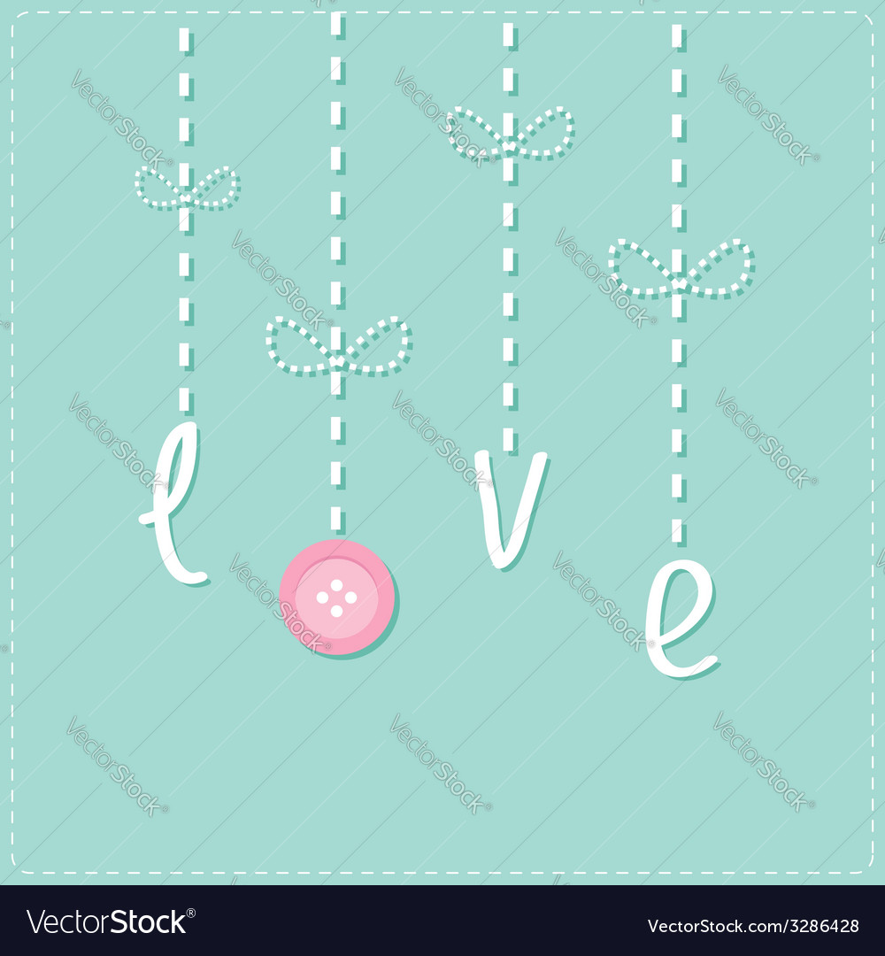 Hanging rain button drops dash line love card flat vector | Price: 1 Credit (USD $1)