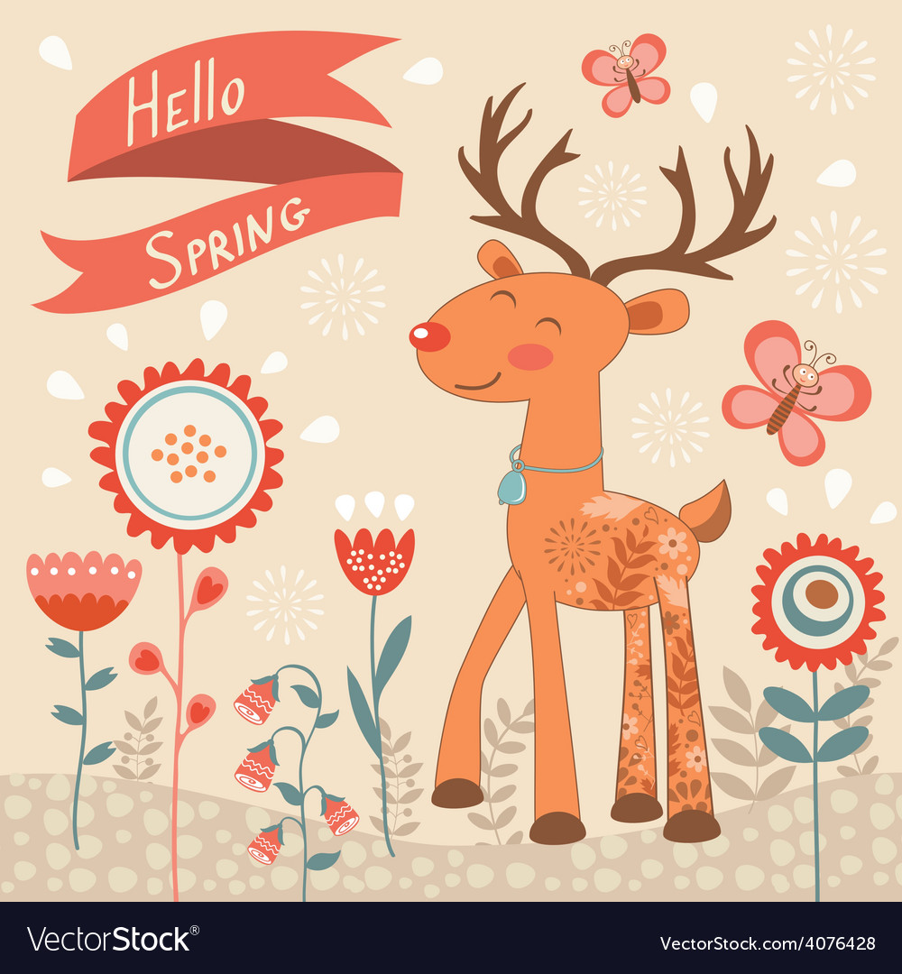 Hello spring concept card with deer vector | Price: 1 Credit (USD $1)