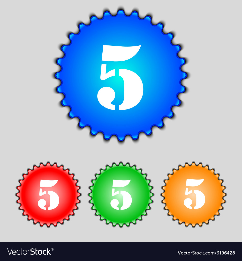 Number five icon sign set of coloured buttons vector   Price: 1 Credit (USD $1)