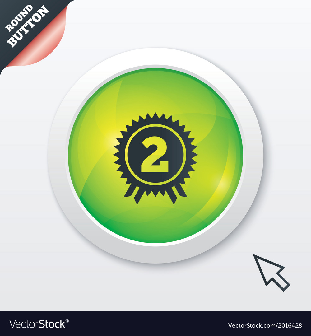 Second place award sign icon prize for winner vector   Price: 1 Credit (USD $1)