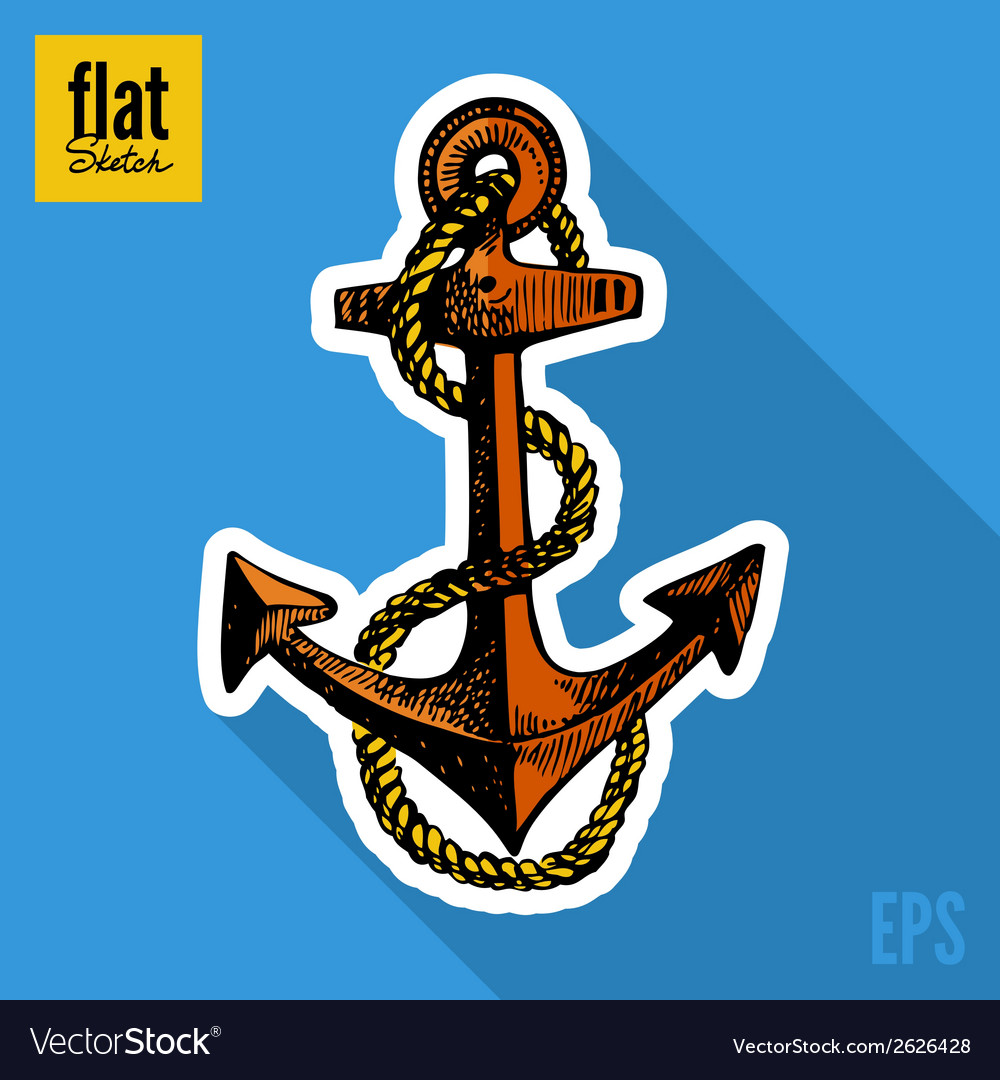 Sketch style hand drawn anchor flat icon vector | Price: 1 Credit (USD $1)