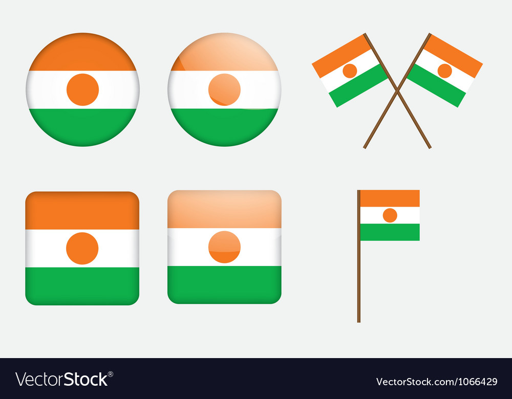 Badges with flag of niger vector | Price: 1 Credit (USD $1)