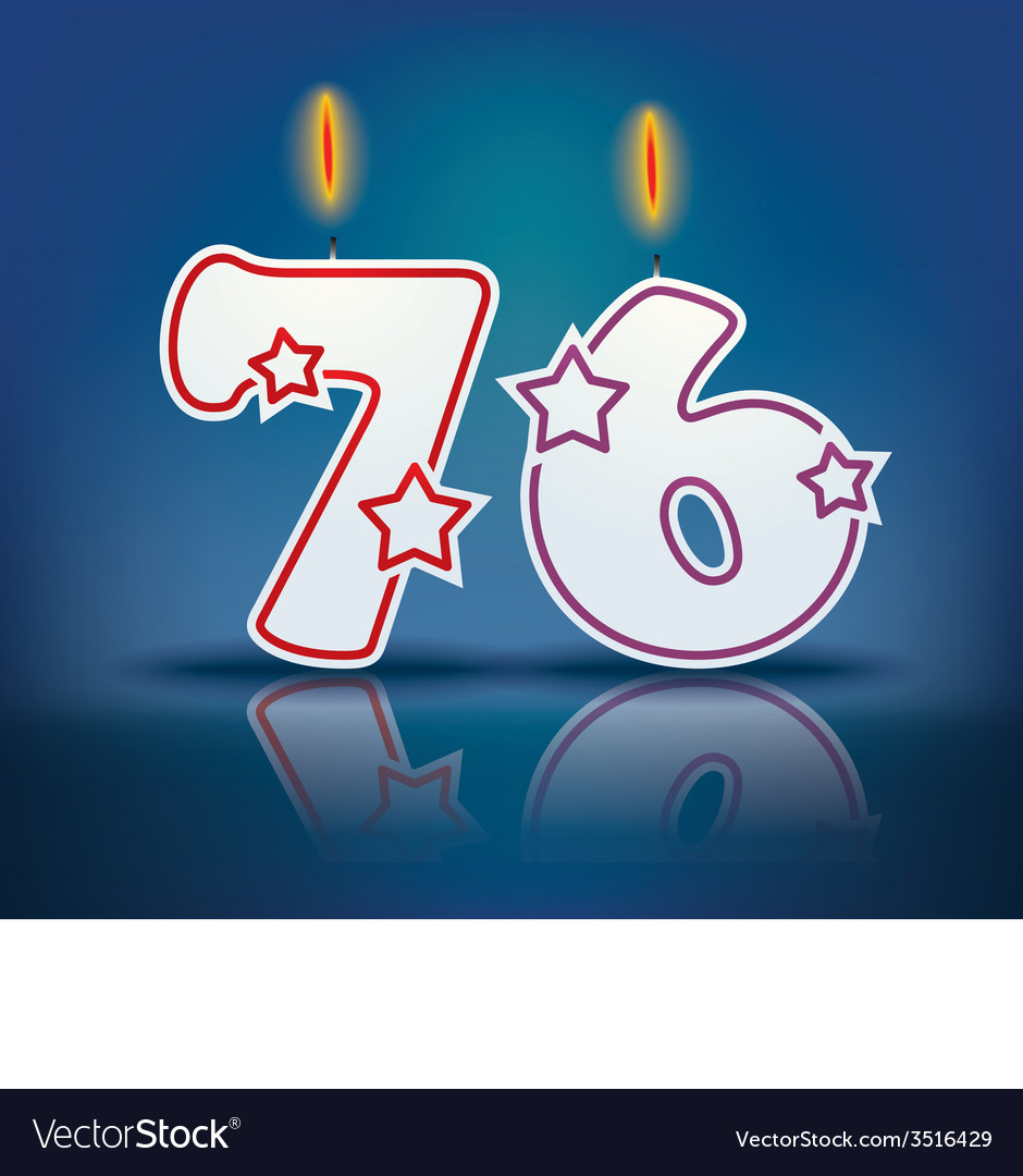 Birthday candle number 76 vector | Price: 1 Credit (USD $1)