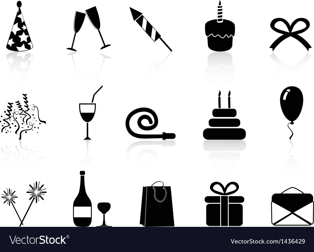 Black celebration icons set vector | Price: 1 Credit (USD $1)