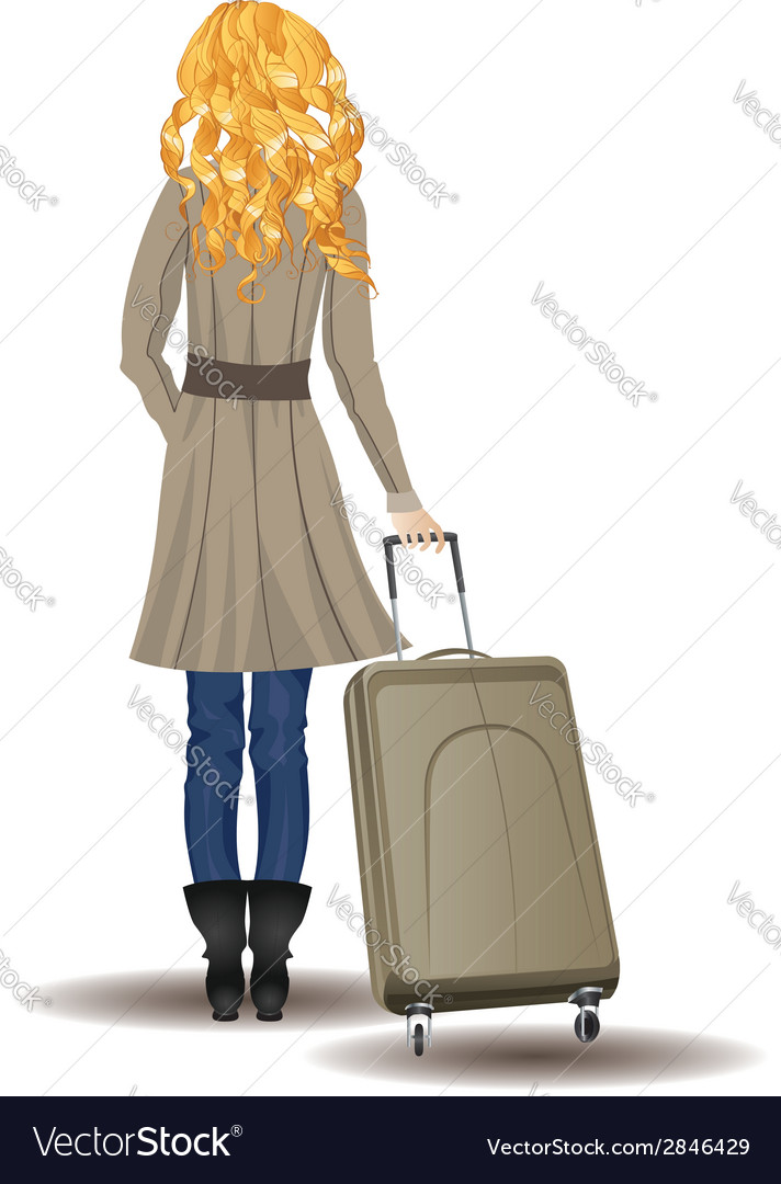 Blonde woman with suitcase2 vector | Price: 1 Credit (USD $1)