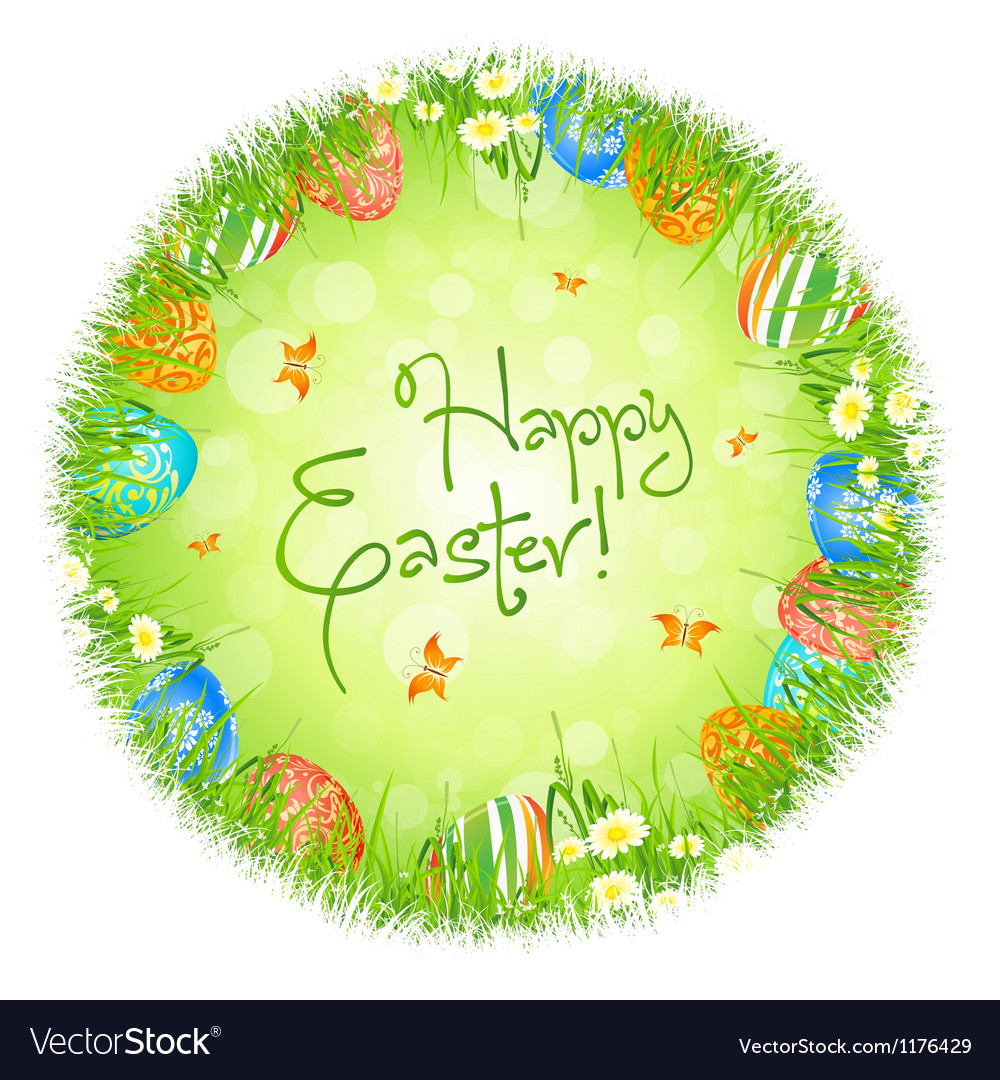 Easter eggs in the grass vector | Price: 1 Credit (USD $1)