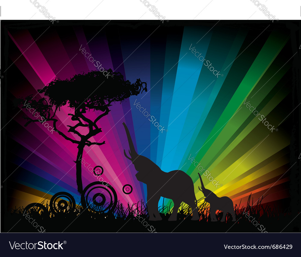 Elephant rainbow background vector | Price: 1 Credit (USD $1)