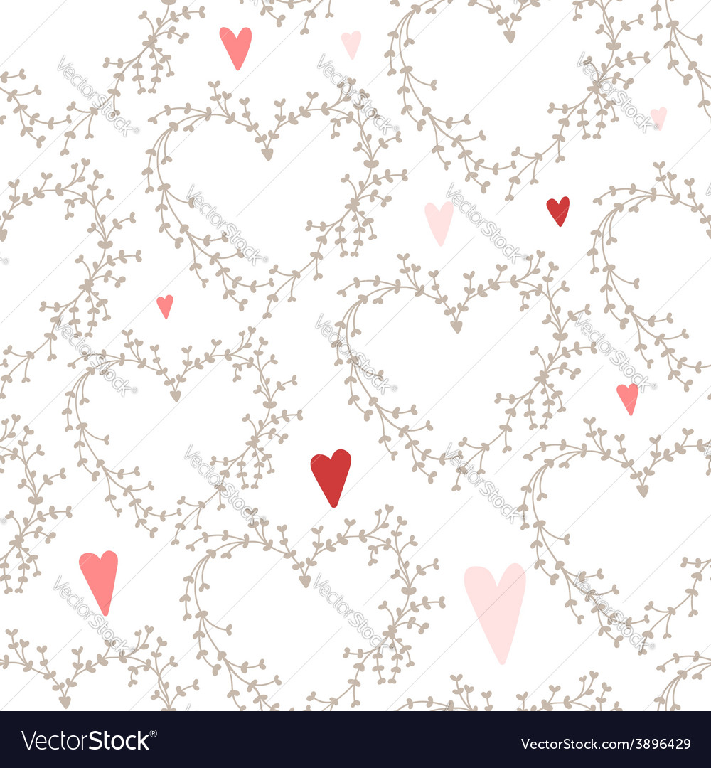 Hand drawn pattern with wreaths and hearts vector | Price: 1 Credit (USD $1)