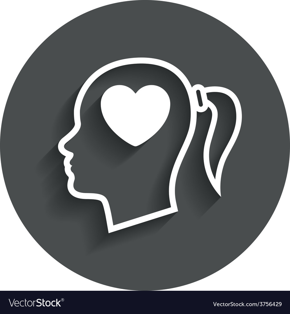 Head with heart sign icon female woman head vector   Price: 1 Credit (USD $1)