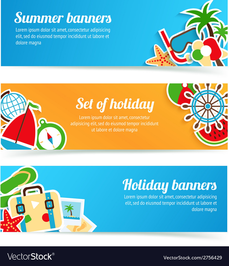 Holiday banners set vector | Price: 1 Credit (USD $1)