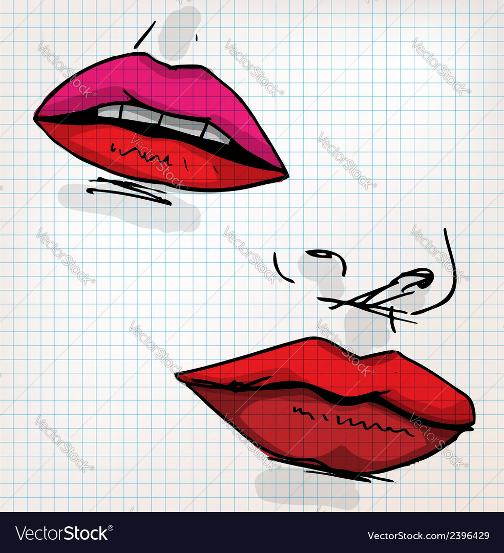 Lips of woman sketch vector   Price: 1 Credit (USD $1)