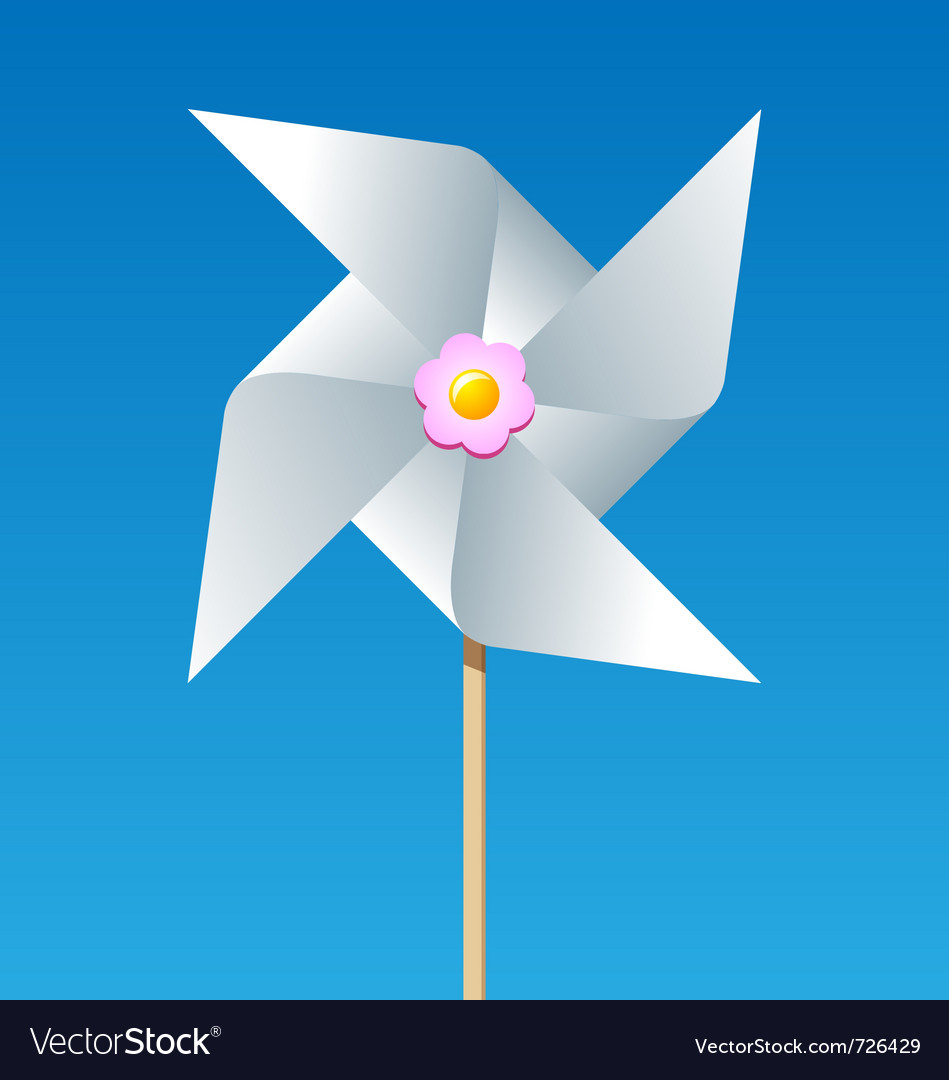 Paper pinwheel isolated on blue background vector | Price: 1 Credit (USD $1)
