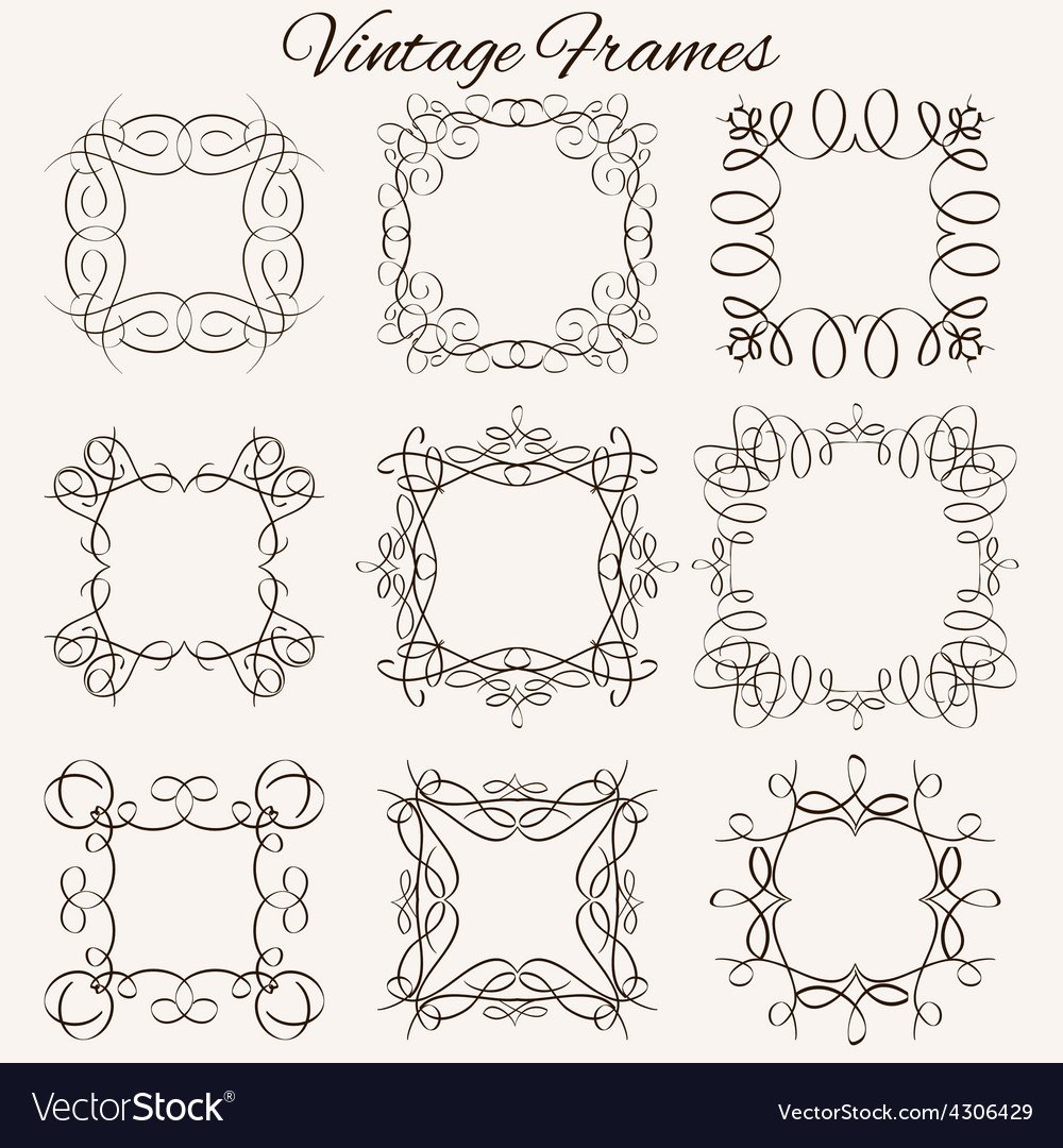 Set of frames hand-drawn calligraphic and vector | Price: 1 Credit (USD $1)