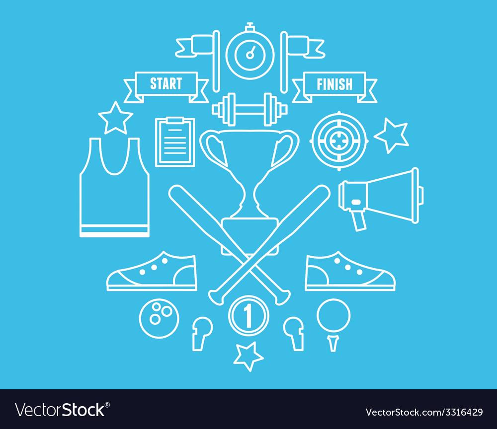 Sport symbols in circle vector | Price: 1 Credit (USD $1)