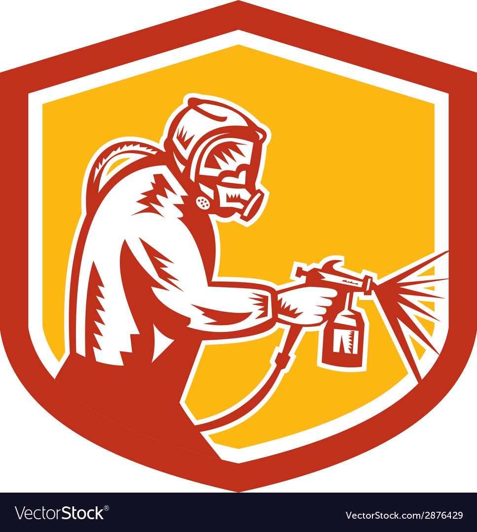 Spray paint gun painter spraying shield retro vector | Price: 1 Credit (USD $1)