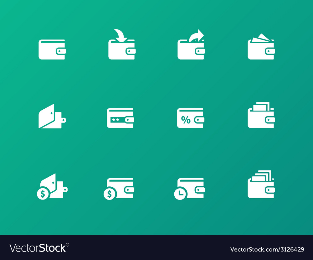 Wallet icons on green background vector | Price: 1 Credit (USD $1)