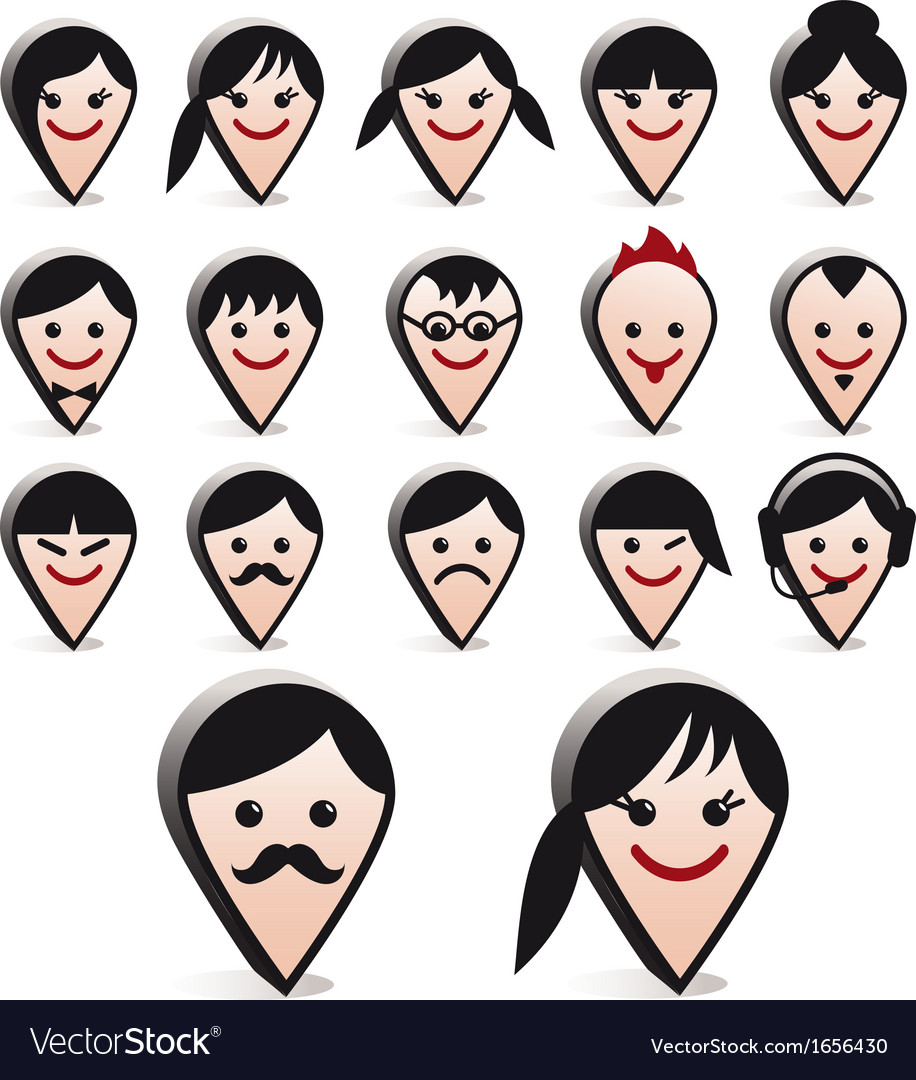 3d avatar heads faces icon set vector | Price: 1 Credit (USD $1)