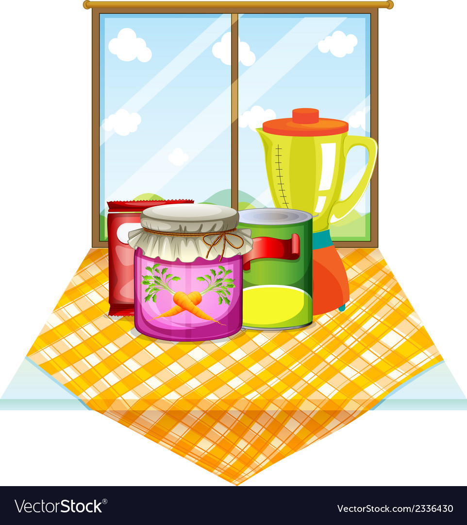 A table near the window with foods inside the vector | Price: 1 Credit (USD $1)