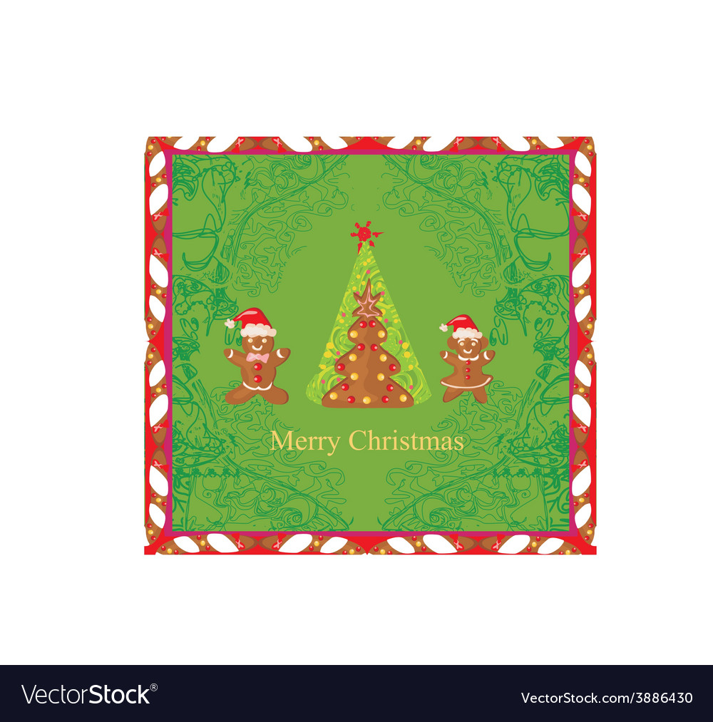 Abstract card with christmas gingerbread tree vector   Price: 1 Credit (USD $1)