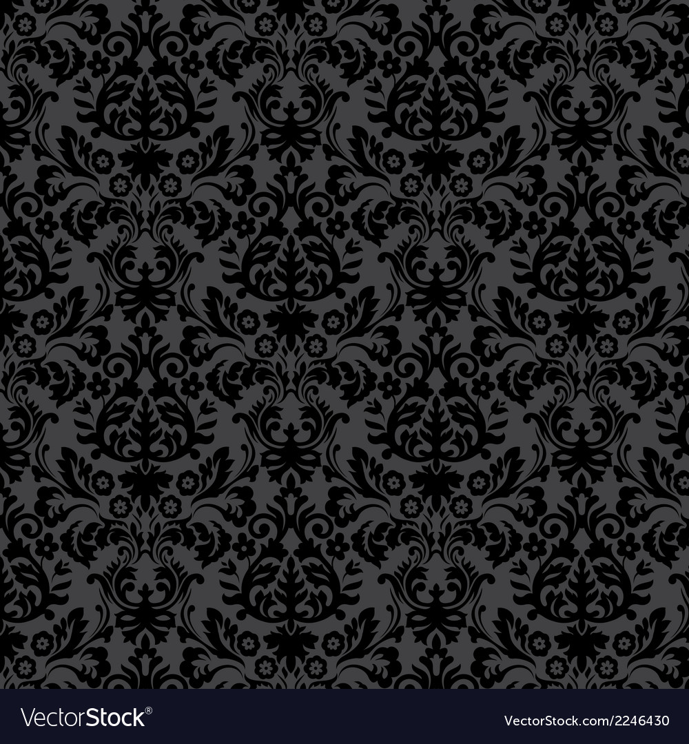 Black damask vintage floral pattern vector | Price: 1 Credit (USD $1)