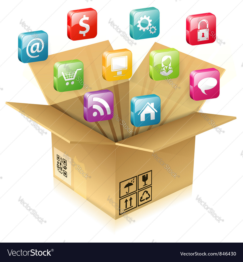 Cardboard box with set of icons vector | Price: 3 Credit (USD $3)