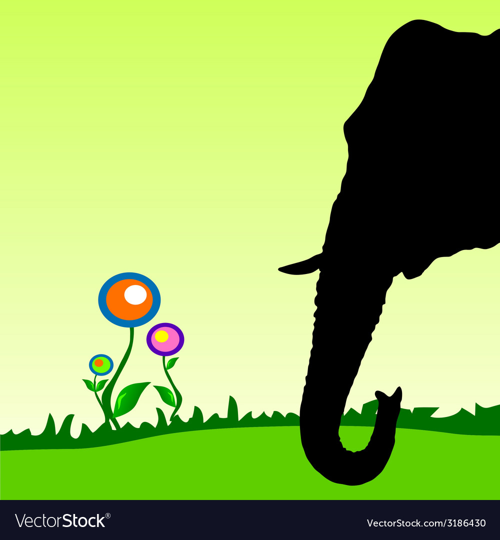 Elephant head with flower vector | Price: 1 Credit (USD $1)