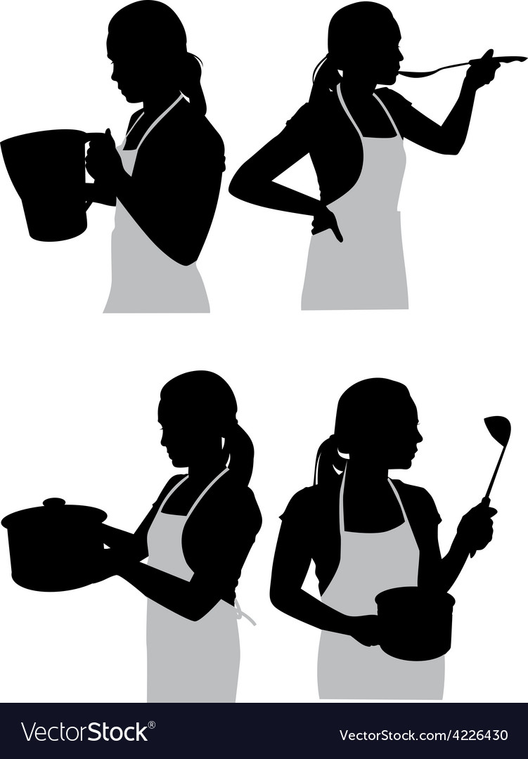 Girl in the kitchen2 vector | Price: 1 Credit (USD $1)