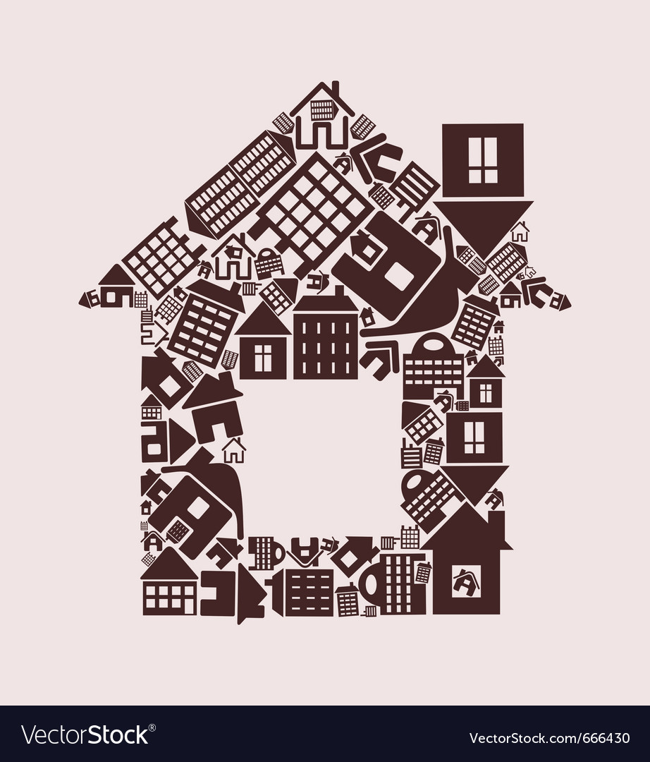 House made of houses vector | Price: 1 Credit (USD $1)