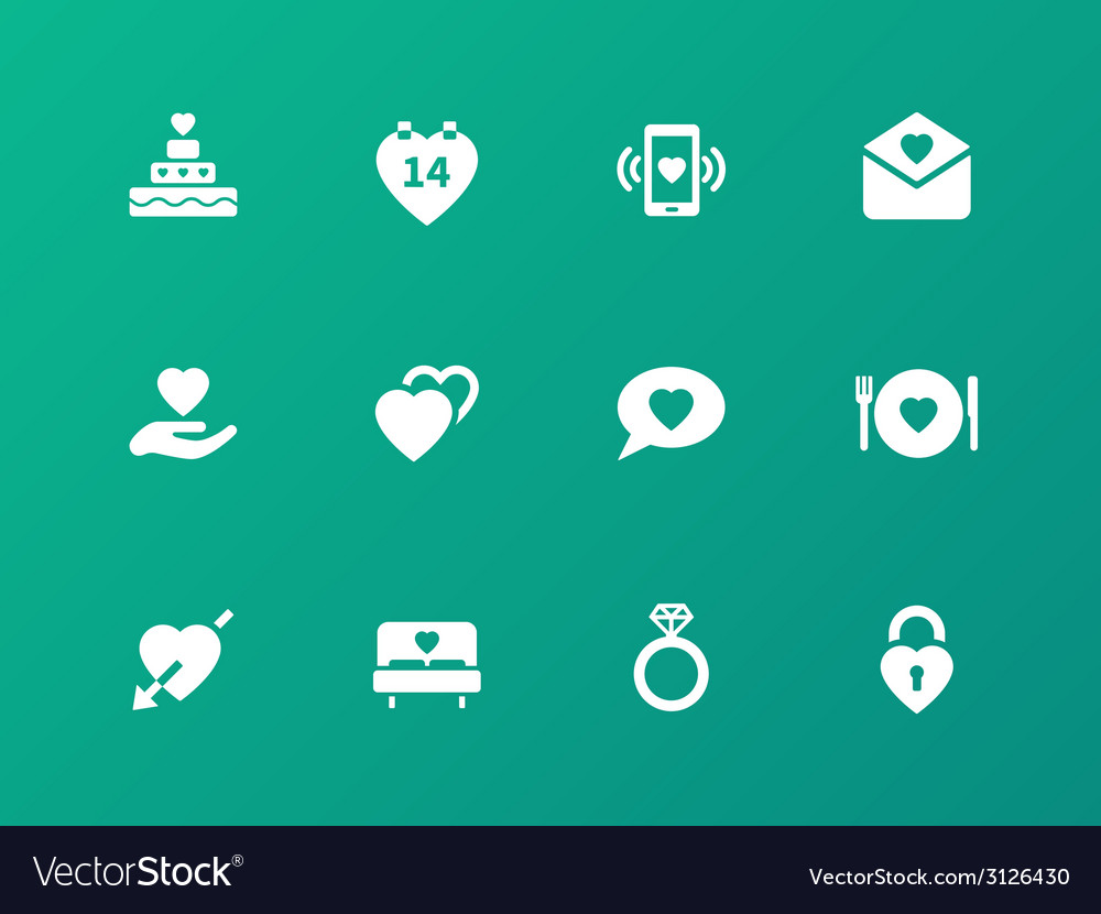 Love icons on green background vector | Price: 1 Credit (USD $1)