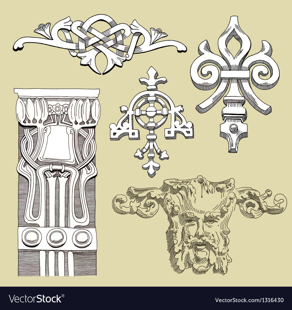 Reliefs of the 19th century kiev buildings vector | Price: 1 Credit (USD $1)