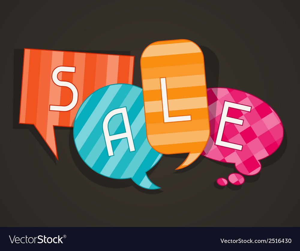 Sale poster with speech bubbles in flat design vector   Price: 1 Credit (USD $1)
