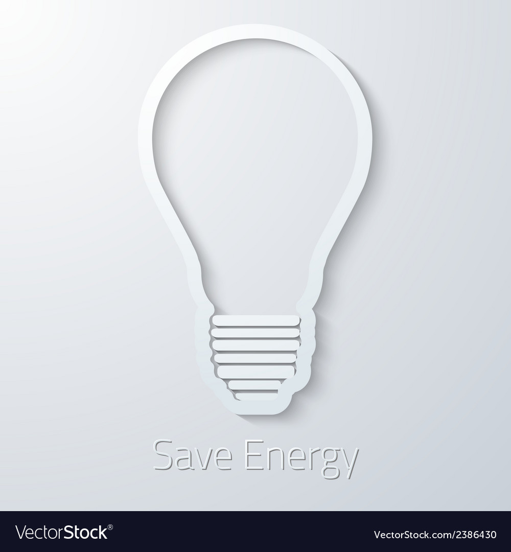 Save energy paper light bulb flat icon vector | Price: 1 Credit (USD $1)