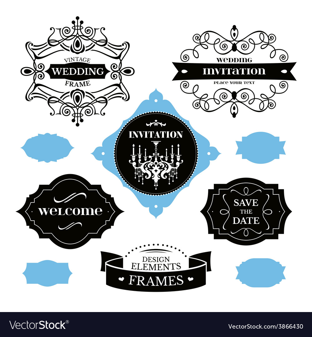 Set of wedding frames and labels vector   Price: 1 Credit (USD $1)