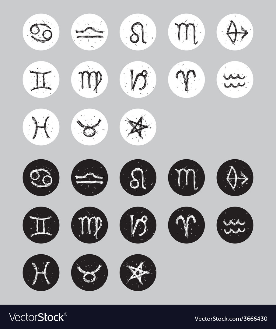 Set of zodiac signs sketch doodle black and white vector | Price: 1 Credit (USD $1)