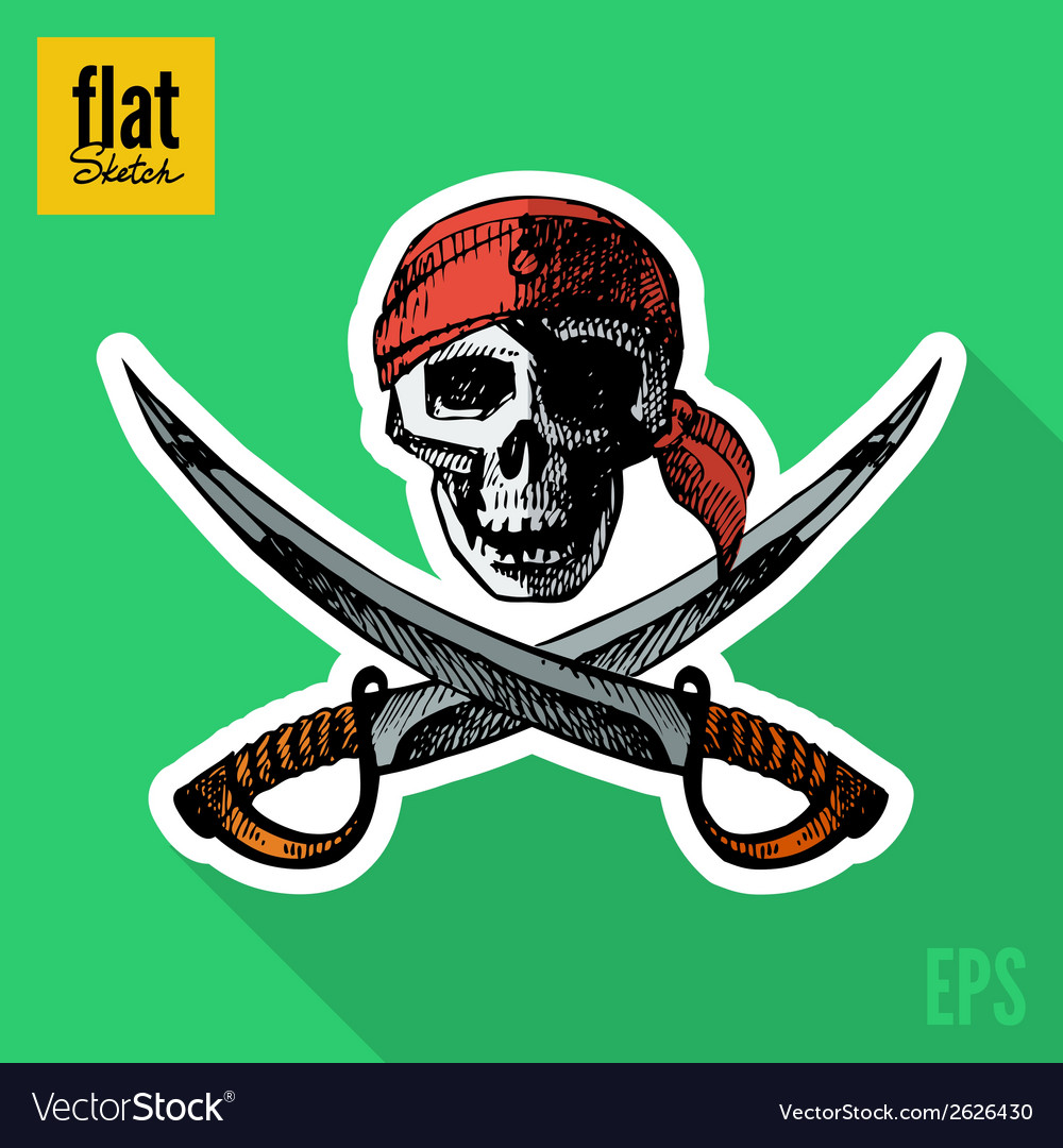 Sketch style hand drawn pirate skull flat icon vector | Price: 1 Credit (USD $1)