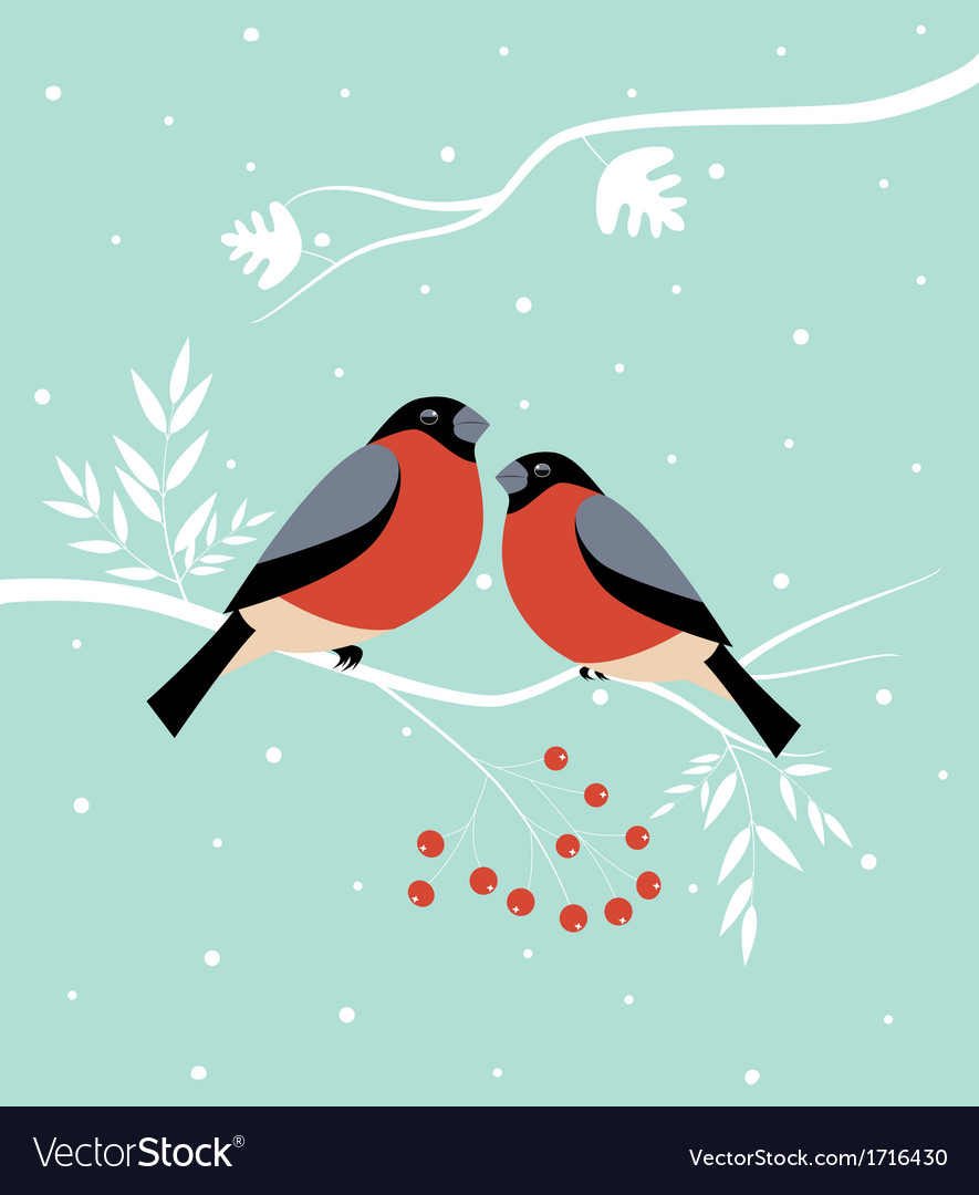 Two birds in winter vector | Price: 1 Credit (USD $1)