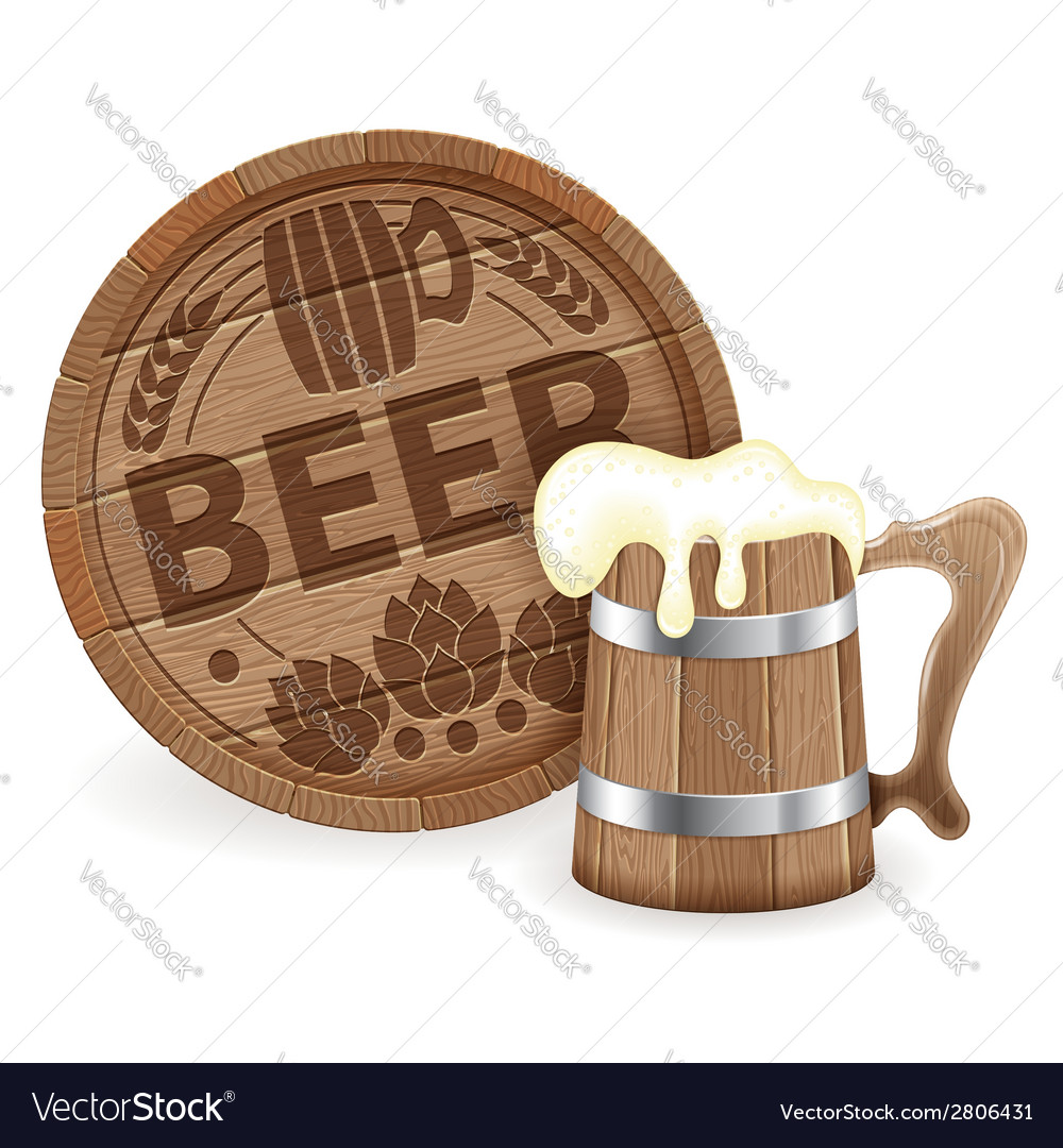 Barrel of beer and wooden mug vector | Price: 1 Credit (USD $1)