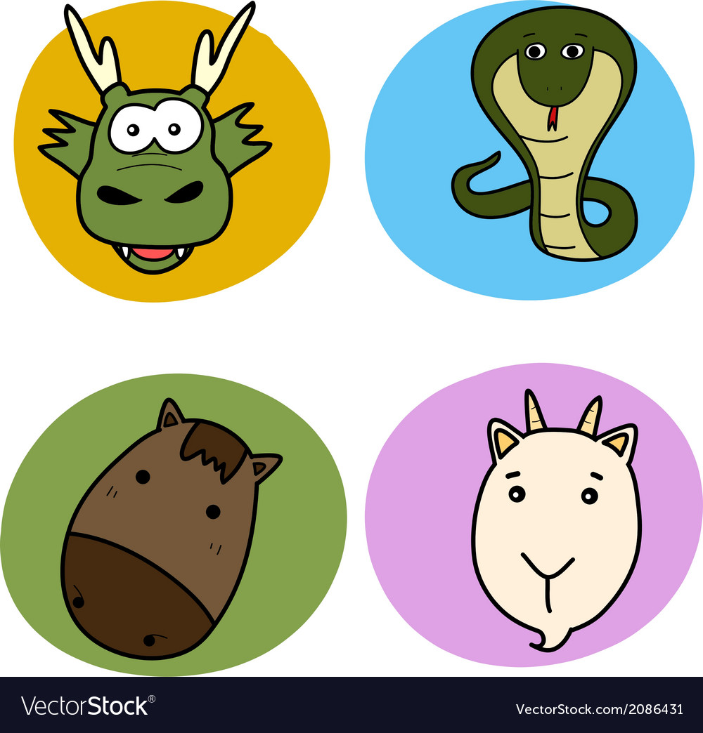 Chinese horoscope animal set vector | Price: 1 Credit (USD $1)