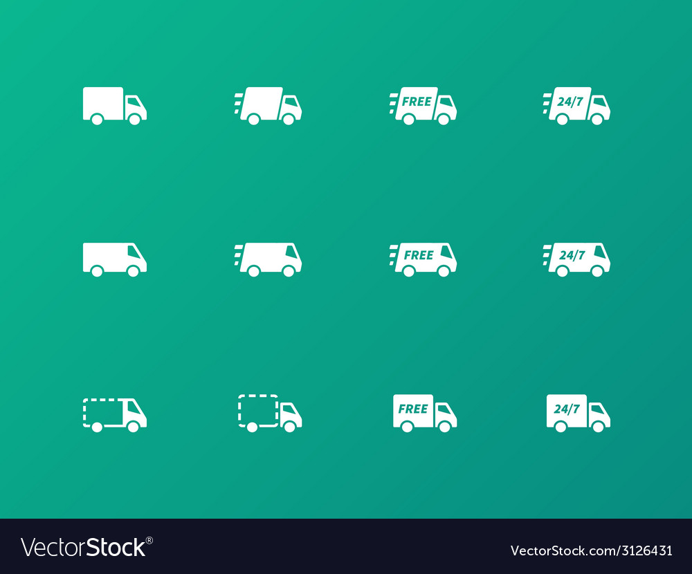 Delivery trucks icons on green background vector | Price: 1 Credit (USD $1)